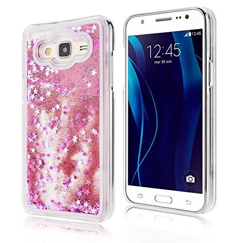Samsung Galaxy J3 Custodia, Samsung Galaxy J3 PC Back Cover in Plastica Trasparente 3D Glitter Scintillanti Stelle Quick and Mode Liquido Rigido Bling Della Stella Caso Transparent Sottile Anti Scivol Rosa