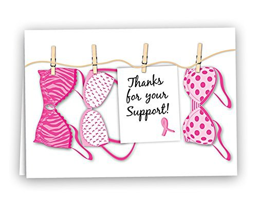in Rosa Band Thank Sie Note Karten (12Karten-Machen) Bras Hanging ()