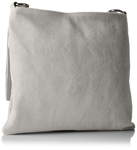 Bags4Less Shopper / A tracolla Modello: Raluca mihaela Borsa con frange / varie Colori a scelta Taglie: 30cm X 30cm X 10cm con regolabili Cinghia - sabbia, Pelle, Small, small Grigio (Grigio)