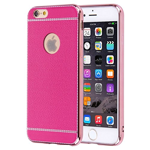 Für iPhone 6 Plus / 6s Plus, 3D Litchi Texture Soft TPU Schutzhülle DEXING ( Color : Red ) Magenta