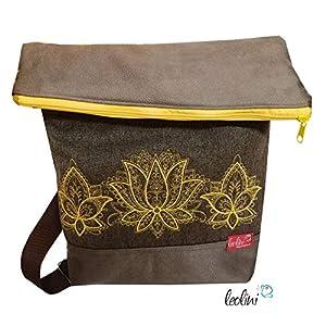 Foldover Tasche Lotusblüten Stickerei handmade Foldovertasche mit Außenfach