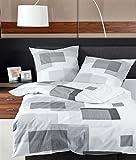Janine Baumwoll Seersucker Bettwäsche 4 teilig Bettbezug 135 x 200 cm Kopfkissenbezug 80 x 80 cm TANGO Quadrat silber graphit