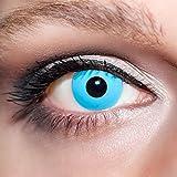 KwikSibs farbige hellblaue Kontaktlinsen Manson 1 Paar (= 2 Linsen) weiche Funlinsen inklusive Behälter (Stärke / Dioptrie: 0 (ohne))