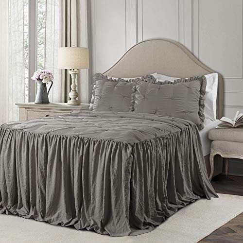 Ravello Pintuck Ruffle Skirt Bedspread Dark Gray 3Pc Set King (Global Home)