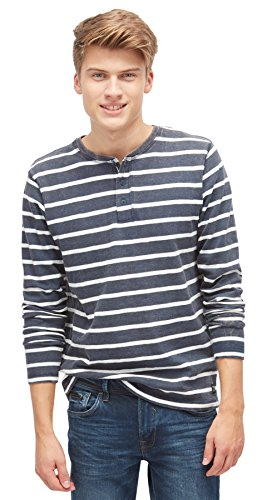 TOM TAILOR DENIM für Männer Sweat gestreiftes Langarmshirt black iris blue M (Sleeve Shirt Long Striped Henley)