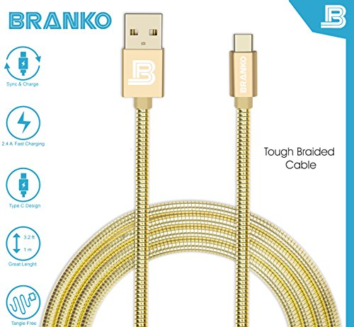 USB Type C Cable | Branko Indestructible Oneplus Type C Cable | Metal Braided Type C Charging And Data Cable || Double Shield , Fast Charging , (1M) Length || Data Sync Upto 480 Mbps & Super Fast Charging Upto 2.4A|| Supports Samsung C9 Pro , OnePlus 3, OnePlus 2, LETV, Nexus 5X, Nexus 6P, Xiaomi Mi4c, Xiaomi Mi5 New Macbook, and other Type C Devices