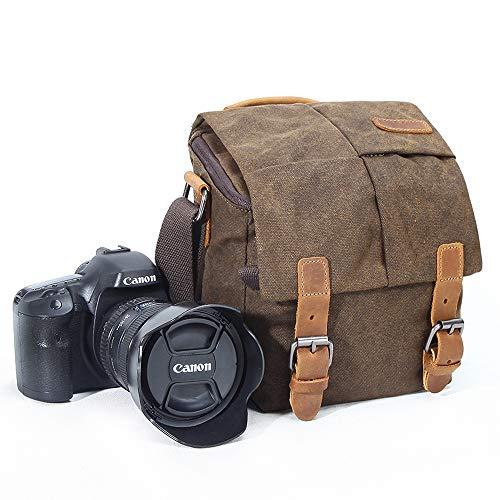 Bolsa de Hombro para cámara, de Lona, Estilo Vintage, Impermeable, con Ribete de Piel, para cámara réflex Digital, a Prueba de Golpes