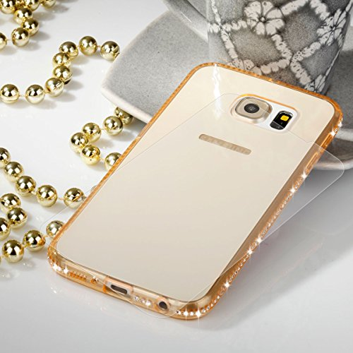 EGO® TPU Schutzhülle Strass Case Diamant mit Panzerglas für Samsung Galaxy S6 Gold Transparent Back Cover Weich Silikon Ultra Dünn Steine Kristall Hülle Glänzend Bling Strass Klar Gold + Glas