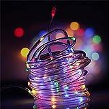 Samoleus 12M 100 LED Impermeable Alambre Manguera de Luce, Manguera LED Solar Resistente, Sensor de luz Para Dormitorio Patio, Fiesta, Árbol de Navidad, Decoraciones (Colorido)