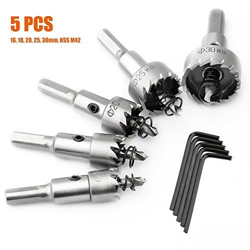 SYCEES Juego de coronas perforadoras 5 Pcs, HSS M42 más fuerte duro...