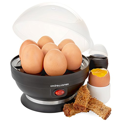 Andrew James – Elektrischer Eierkocher in Schwarz – Für bis zu 7 Eier – Mit Pochier- und Dämpferzubehör