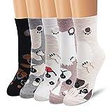 Moliker Damen Socken Baumwolle 5 Paare gemustert weich bequem öko elastischer Saum (4002)
