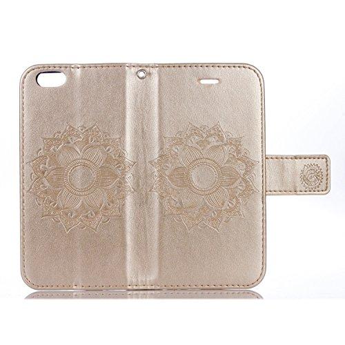 EKINHUI Case Cover Für IPhone 6 & 6s Fall, Mandala Blume geprägtes Muster Schutzhülle Premium PU Leder Folio Flip Stand Brieftasche Case Beutel mit Lanyard & Halter & Card Cash Slots ( Color : Purple  Gold