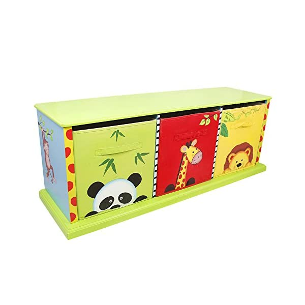 Fantasy Fields - Sunny Safari themed Wooden Drawer Cubby with 3 Canvas Drawers |Hand Crafted & Hand Painted Toy Storage Unit Toybox | Child Friendly Water-based Paint Fantasy Fields By Teamson Colourful organised storage cabinet for those keepsakes, toys, games and nik naks. Dimensions 121.92 x 37.47 x 43.82. 3 canvas bags included Sturdy and free standing. Suitable for Kids Bedroom and Playroom enchancing your little ones organisational skills Teach your kids colour and character recognition and enhance their imaginative minds.  Great for encouraging children's independence 1