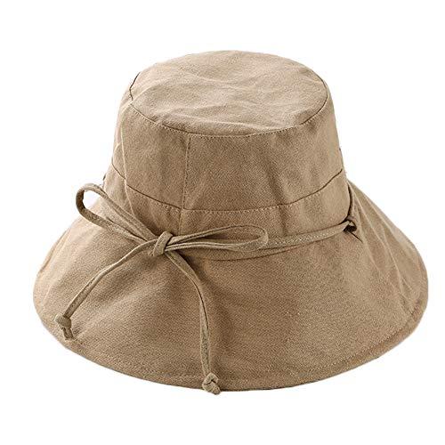 WDOIT Donna Sole Cappello Carino Tinta Unita Bar pieghevole estivo cappello protezione UV per Outdoor marrone marrone 56-58cm