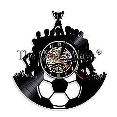 Idea Regalo - CVG 1 Pezzo Calcio Vinile Record Orologio da Parete Squadra di Calcio Lampada da Parete Squadra di Calcio Campione Illuminazione d'atmosfera Triumph Souvenir