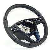 Seat Lederlenkrad Lenkrad Leder für Multifunktionsanzeige, Leder schwarz mit blauer Naht