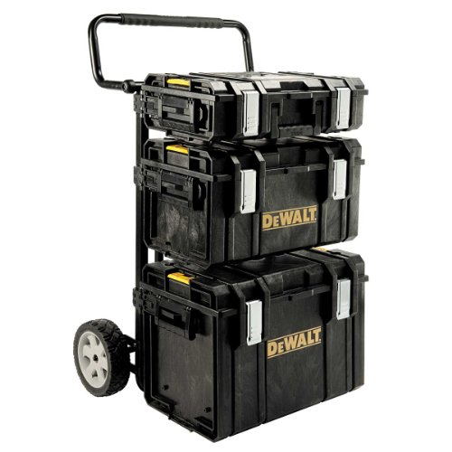 DeWalt ToughSystem/ Transportsystem (inkl. ToughBoxen und einem Trolley, 4-in-1 Komplett-Set, Boxenwände 4 mm dick, IP65- staubdicht und spritzwassergeschützt, mit Druckausgleichknopf) 1-70-349 -