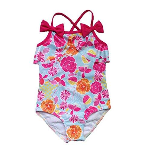 Badebikini zahuihuiM Kleinkind Baby Kinder Mädchen Blume Print Bikini Bowknot Badeanzug Kleidung Lovely Bademode (Jahr Alt 1 Kleine Kostüm Meerjungfrau)