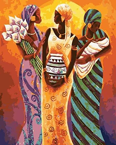 Alesx Traditionelle Afrika Frauen Abbildung Malen Nach Zahlen Auf Leinwand DIY Öl Digitale Malen Nach Zahlen Kits Für Wohnkultur 1 40X50Cm Rahmen (Leinwand Malt)