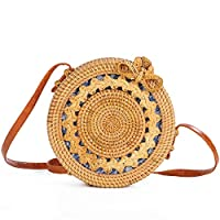 YYHSND Teng Xuan Hand-woven Rattan Bag Crossbody Beach Straw Bag Women