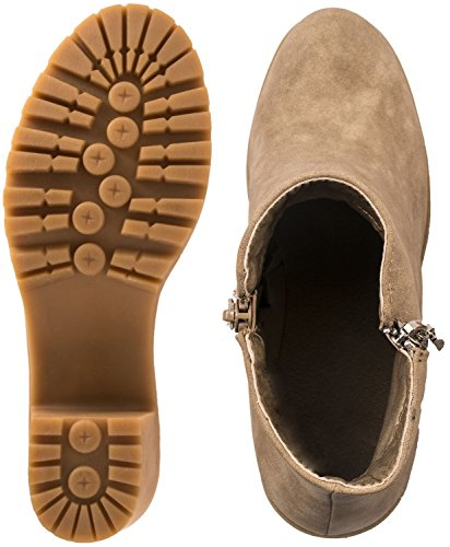 Elara Damen Ankle Boots   Bequeme Plateau Stiefeletten   Blockabsatz Wildlederoptik Khaki Lederoptik