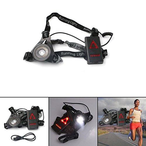 Notte Sport Corsa luce, Ghisa Power LED USB Ricaricabile 3modi Running luci 90-250LM impermeabile, leggero e comodo, perfetto seno lampada torcia da testa per Outdoor Jogging