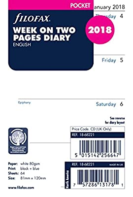Filofax 18-68221 Pocket Week On Two Pages English 2018 Diary