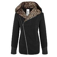 Cravog Women Casual Slim Hooded Leopard Print Jacket Coat Long Outwear