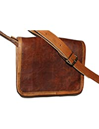 HLC-(Handmade Leather Craft) Real Leather Full Flap Ladies Messenger Bag Brown