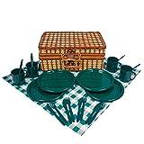 anndora Bambus Picknick Korb für 4 Personen grün/weiß - 604002