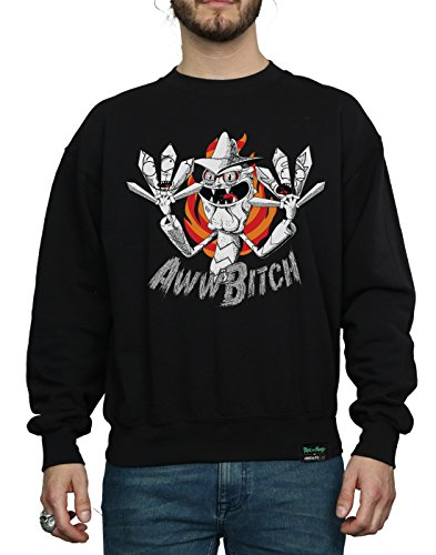 Absolute Cult Herren Rick And Morty Scary Terry Aww Bitch Sweatshirt Schwarz
