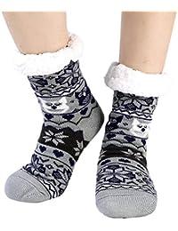 Fleece Fuzzy Socks Slipper Women Non Slip Gripper Thick Thermal Christmas Stockings