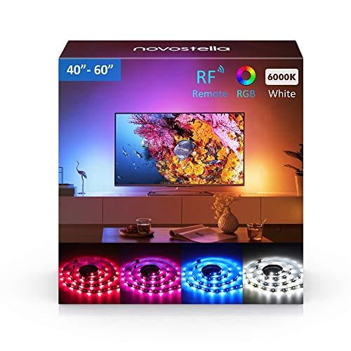 Novostella LED TV Hintergrundbeleuchtung 2M/6.4ft LED Strip Kit USB LED Streifen RGBW mit RF Fernbedienung 5050 LEDs für 40-60 Zoll HDTV, TV Bildschirm, PC, Innendekoration Hdtv-kit