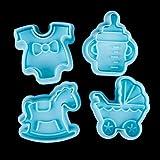 zhuotop 4pcs para bebé juguete decoración pasta de azúcar molde Sugarcraft émbolo cortador de Fondant herramienta