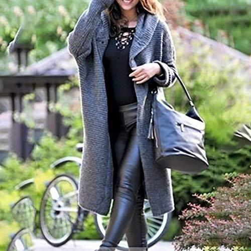 Vertvie Femme Cardigan Long en Tricot Veste Ouvert en Maille Manches Longues Pull Gilet Chaud Casual avec Capuche Manteau de Survêtement d'hiver (5XL,Gris)