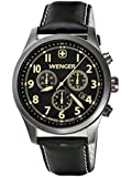 Wenger Terragraph Chrono Men's Quartz Watch with Black Dial Analogue Display and Black Leather Strap 010543104