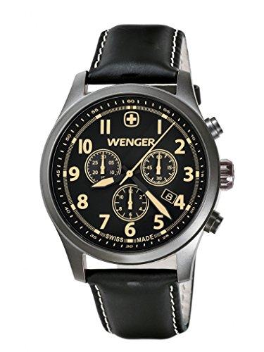 Wenger Terragraph Chrono 01.5431.104 - Reloj cronógrafo de cuarzo para hombre, correa de cuero color negro (cronómetro, agujas luminiscentes)