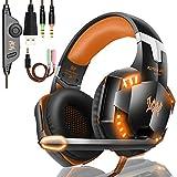 PREUP Auriculares Gaming Cascos PS4, Micrófono Control de Volumen LED Luz 3.5mm Jack, Reducción de ruido, PC/Xbox One/Nintendo Switch/Móvil/Tablet,Nranja+Negro (Tiene un adaptador)