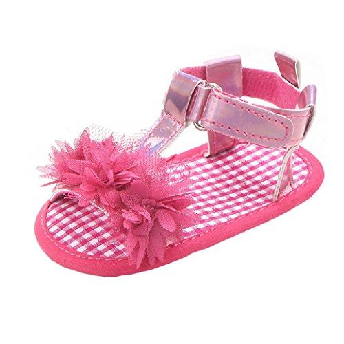 BZLine® Neugeborenes Baby Mädchen Blume Sandalen Krippe Anti Slip Sandals Hot Pink