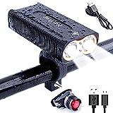 YUMUN LED Fahrradbeleuchtung Set, 2400 Lumen 4 Licht-Modi USB Wiederaufladbare Fahrradbeleuchtung Frontlicht und Rücklicht für Berg-Radfahren,Radfahren Camping Outdoor Sport,IP65 Wasserdich