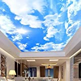 Carta da Parati Foto Poster Gigante WJbxx Carta Da Parati Fotografica 3D Personalizzata Murale Cielo Blu Nuvole Bianche Sole Sole Grande Carta Da Parati Murale Per La Decorazione Del Soffitto