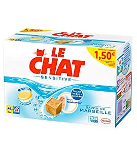 Le Chat - Sensitive - Lessive en Tablettes - Boîte 48 Tablettes / 24 Lavages