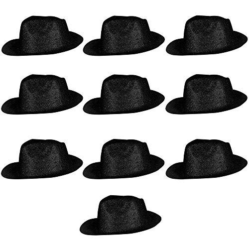 y Hüte Sheriff Fasching Masken Perücke Disco Zylinder Maske Texas Glitzer Einfach - Schwarz ()