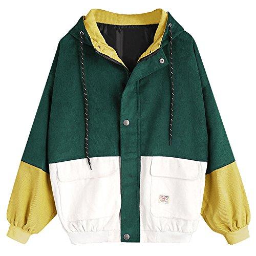 ZAFUL Damen Lässig Stilvolle Langarm Patchwork Cord Kapuzenjacke Reißverschluss Kurzmantel Windbreaker Outwear Deep Green M (Cord-jacke Frauen)