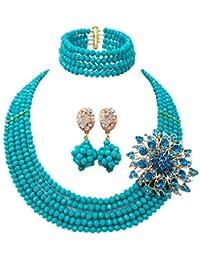 b7f5122ab4fa laanc 5 filas muy joyas boda nigeriano cuentas africanos conjunto de joyería  de cristal collar pulsera