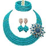 Laanc 5file altamente gioielli Nigeriani African perline parure collana bracciale orecchini