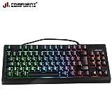 JL Comfurni Gaming Keyboard Mechanical Keyboard Rainbow RGB LED Backlit Wired Keyboard