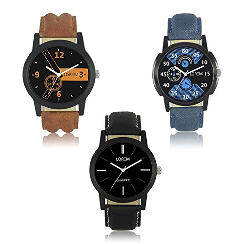 OpenDeal LOREM Stylish Dummy Chronograph Analog Watch - For Men & Boys Pack Of 3 OD-W222
