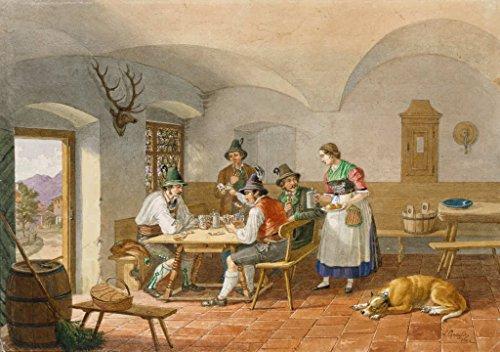 """Kunstdruck / Poster: Lorenzo Quaglio der Jüngere """"Kartenspielende Bauern"""" - hochwertiger Druck, Bild, Kunstposter, 100x70 cm"""